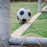 Close up of soccer ball and net HBF Arena