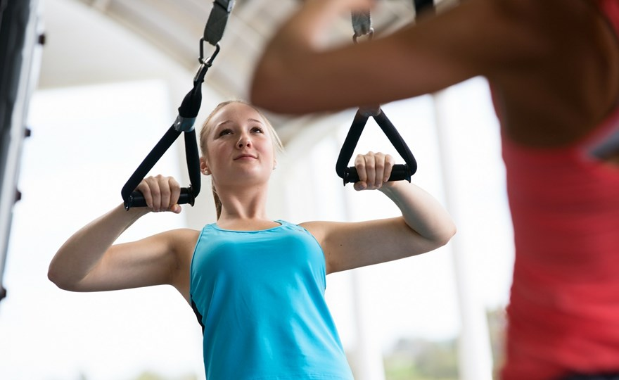 Teen in suspension training class HBF Arena