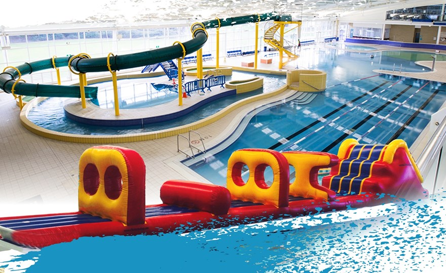 Water slide and inflatable obstacle course at HBF Arena