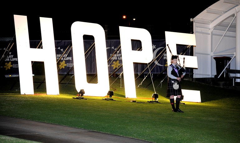 Hope letter lights Relay for life HBF Arena